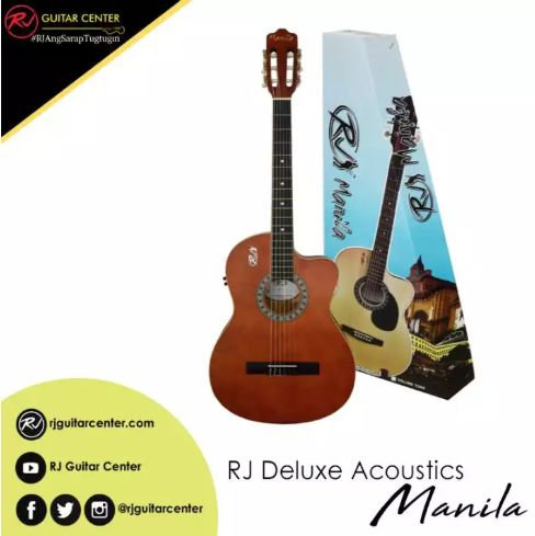RJ Deluxe Manila Classical Nylon Acoustic Guitar - Brown (Volume Tone)