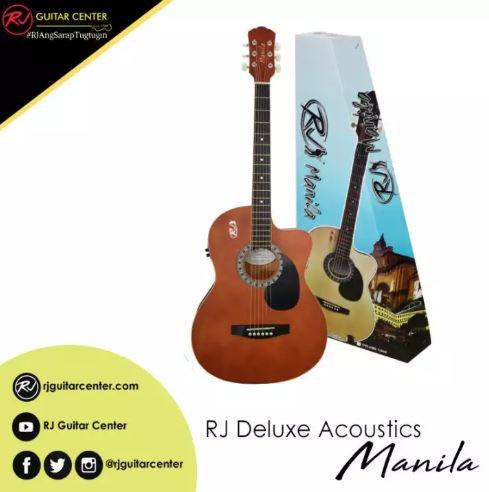 RJ Deluxe Manila Folk Steel Acoustic Guitar - Brown (Volume Tone)