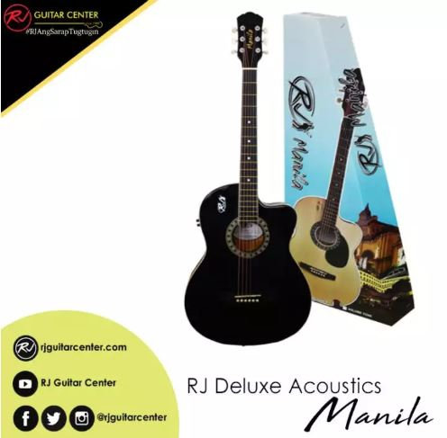 RJ Deluxe Manila Folk Steel Acoustic Guitar - Black (EQ w/ Tuner)