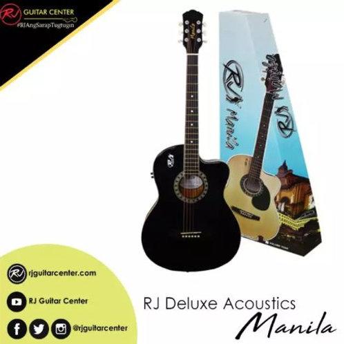 RJ Deluxe Manila Folk Steel Acoustic Guitar - Black (EQ w/ Tuner)