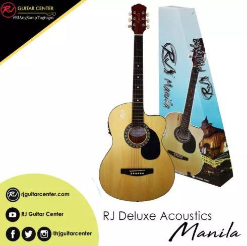 RJ Deluxe Manila Folk Steel Acoustic Guitar - Natural (Volume Tone)