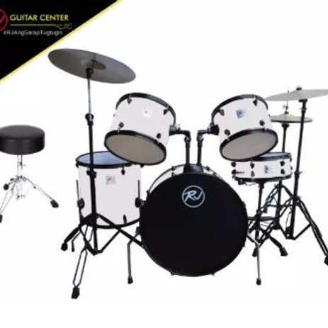 RJ Drumset with Cymbal & Throne - White