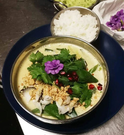 Our classic Thai Eggplant and Green Vege Curry! Topped with fresh coconut, peanuts and herbs, this i