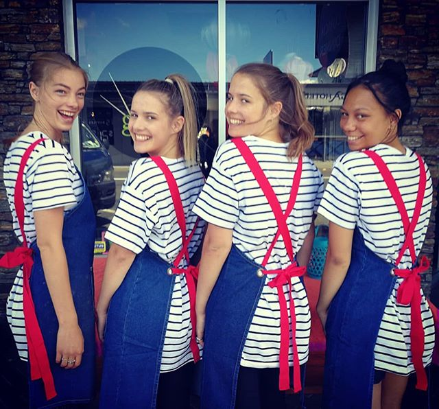 These lil cuties in our new uniforms! _wearjackdusty #loveourgirls #hospowhanau #wehavethebestcrewev