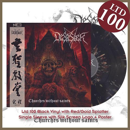 Desaster - Churches Without Saints Ltd 100 Black Vinyl+Red/Gold Splatter
