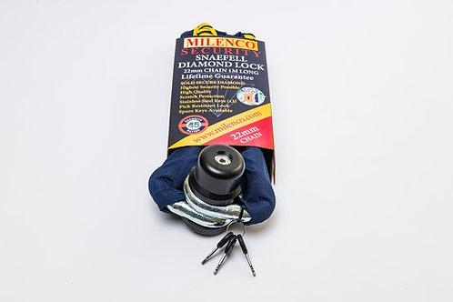 Snaefell Diamond Lock & 22mm Chain 1m long