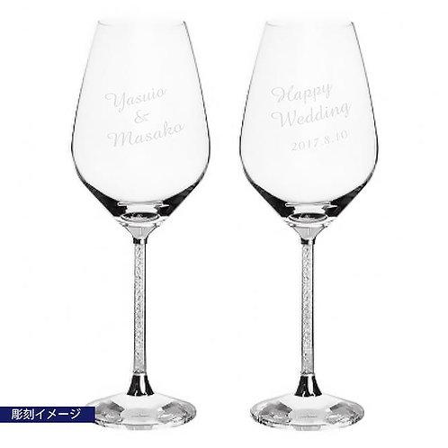 スワロフスキー Crystalline 赤ワイングラス ペア 彫刻代込み