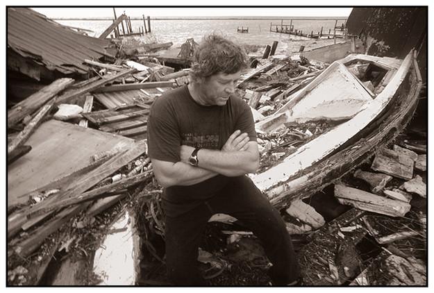 Eugene Webb, Fisherman, after Hurricane