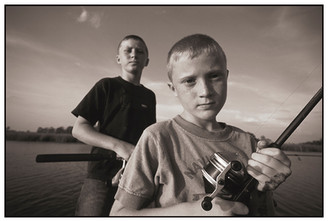 Tanner & Chandler Fishing on Scipio Creek