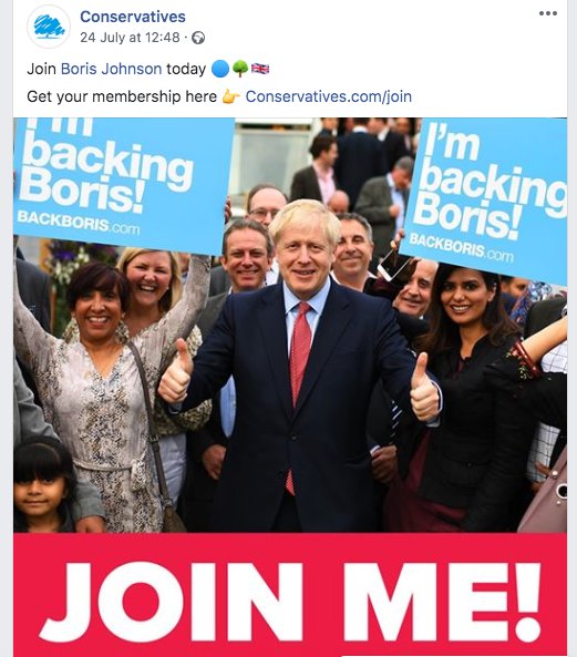 Conservative Party Facebook Post