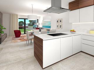 Borek RD Klasik kuchyňský kout a obývací pokoj