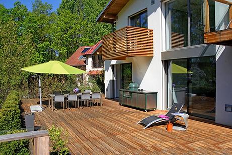 Moderní, dům, zahrada, terasa, venkovní posezení
