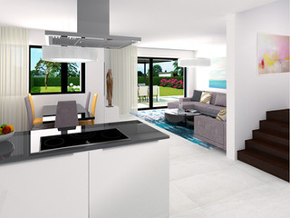 Borek RD Komfort kuchyňský kout a obývací pokoj