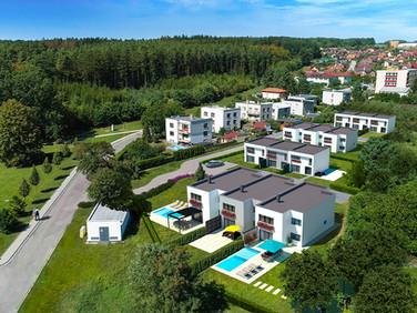Rodinné vila domy Borek letecký pohled