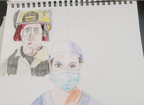 Prismacolor color pencils on sketchbook paper.   Pleasant Valley High School Art Studio - Social Political Art, an original four-week unit plan during distance learning.  Fall 2020
