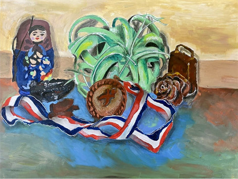 Acrylic paint on stretched canvas.  Pleasant Valley High School Art Studio - Symbolism & Still-Life Drawing, an original six-week unit plan.  Fall 2020