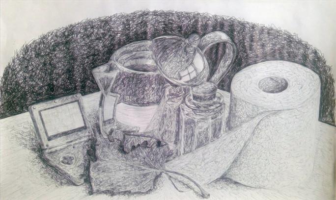 Ballpoint pen on paper.   Pleasant Valley High School Art Studio - Symbolism & Still-Life Drawing, an original six-week unit plan.  Fall 2020