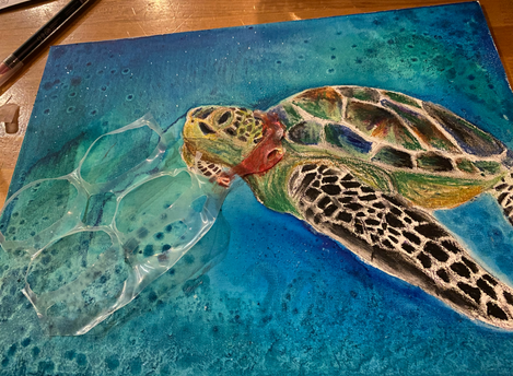Acrylic paint and plastic on stretched canvas.  Pleasant Valley High School Art Studio - Social Political Art, an original four-week unit plan during distance learning.  Fall 2020