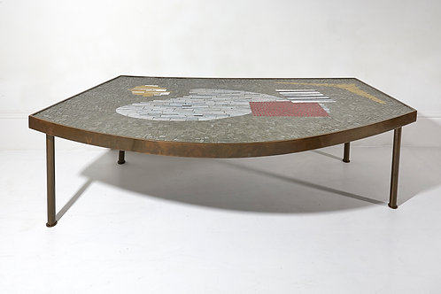 Large Brass and Mosaic Coffee Table by Berthold Müller 1950s