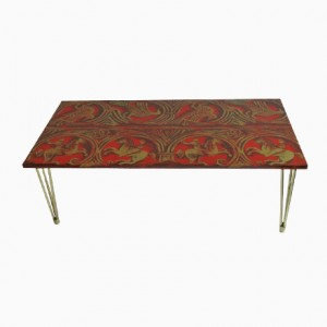 Red Lacquered Linen and Gold Coffee Table Italian c1950