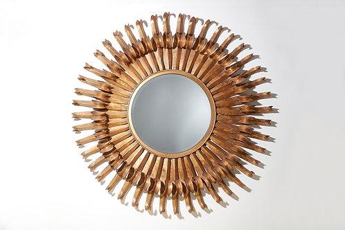 Tole Double Level Circular Sunburst Mirror