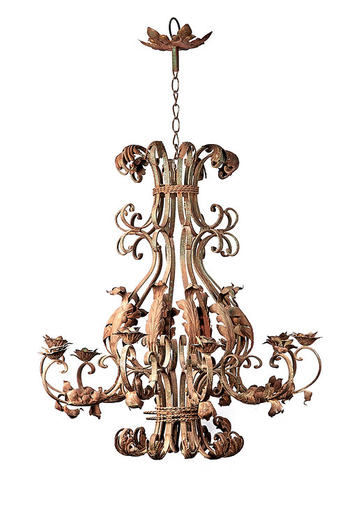 Rare extra large ornate ten branch iron chandelier