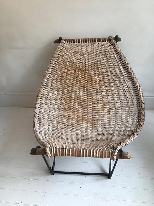 John Risley rattan chair on iron frame American Circa 1950