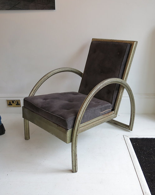 French Silvered Metal Armchair, 1930s