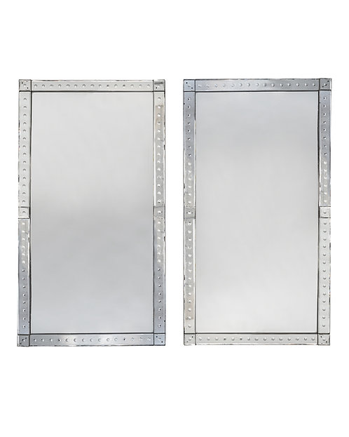 Original pair of large Venetian mirrors, with mirrored borders