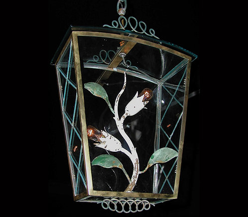Fontana Arte glass and metal flower lantern