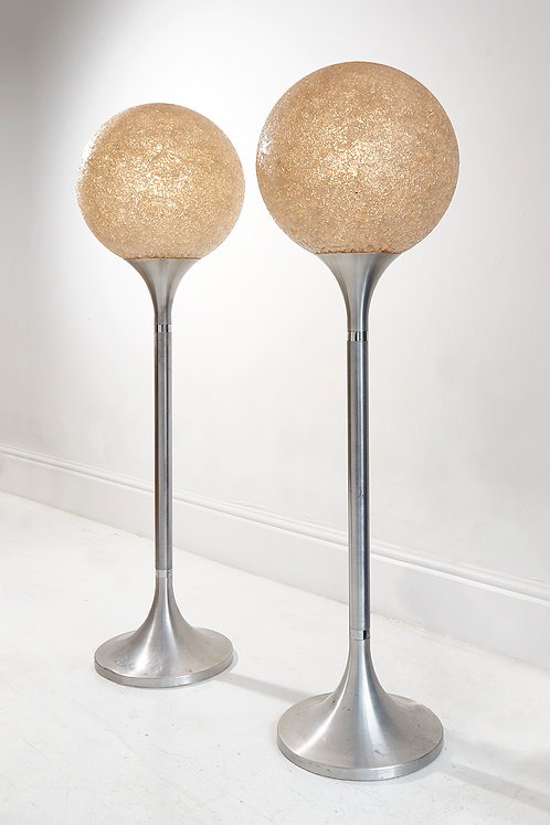 Pair of White Mosaic Glass Lamps