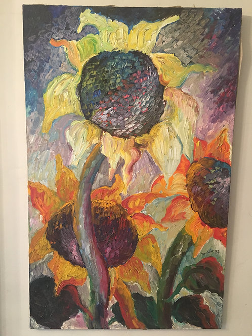 Stunning sunflower oil painting signed and dated 1937