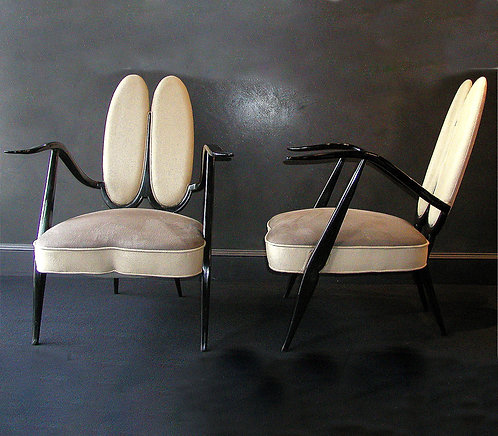 Elegant pair of 20th Century Ebonised Armchairs