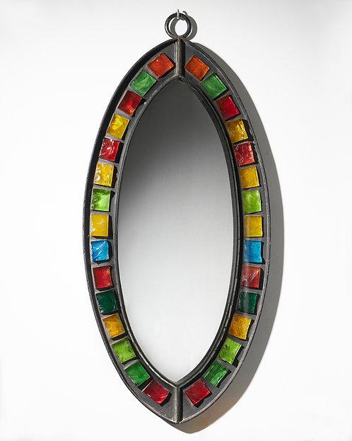 Brutalist iron and coloured glass ellipticalmirror