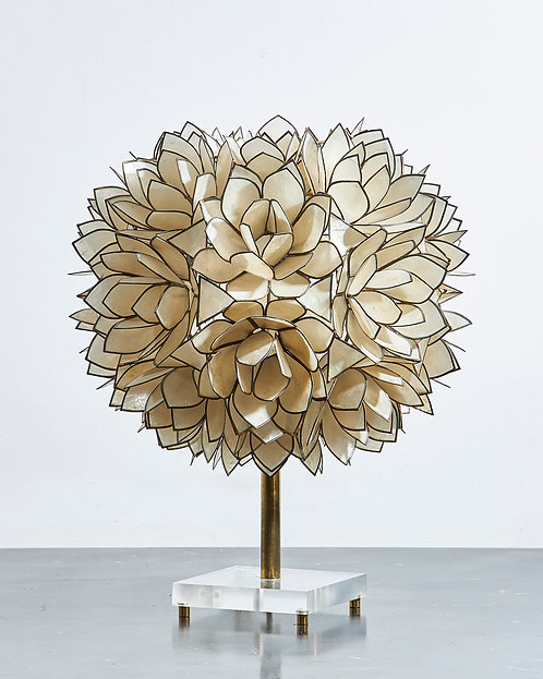 Flower Lamp, blossoms of Mother of Pearl on Metal Frame