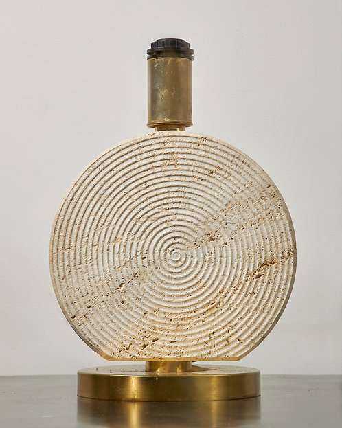 Travertine and lacquered brass table lamp by ScarnicciItalian