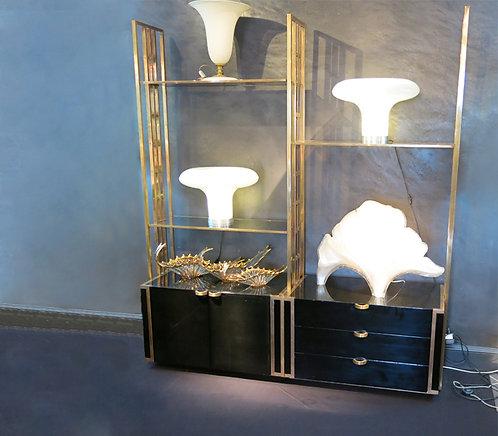 Black & Brass Display Cabinet by Gorgoni