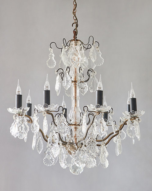 Crystal and iron eight branch chandelier