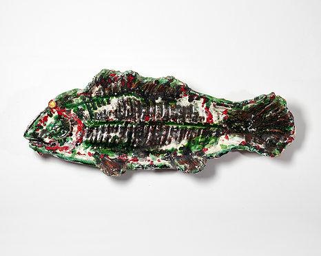 Large unusual glazed faience fish