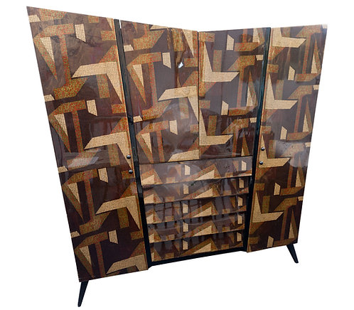 High gloss lacquered printed linen armoire.