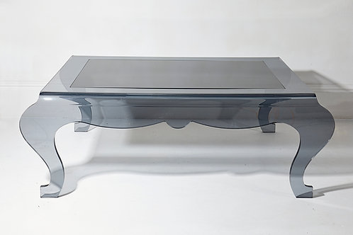 Smoked Grey Plexi and Black Glass Coffee Table