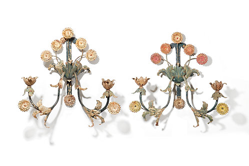 Pair of painted tole flower wall lights