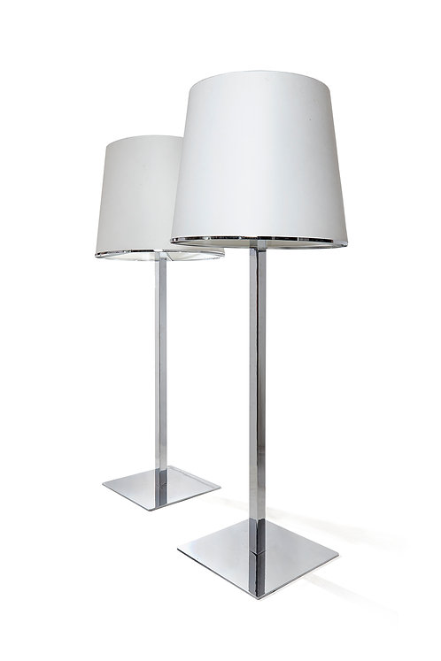 Pair of fine quality chrome standing lights, Italian c1970