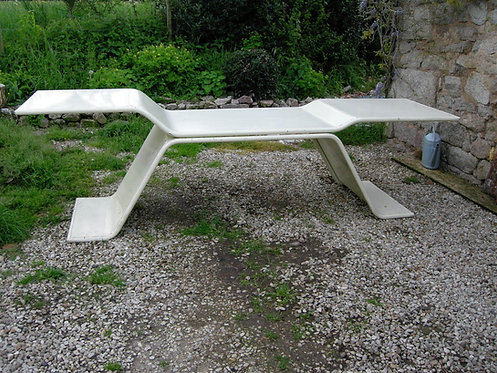 Stunning pale cream enamelled metal architects table