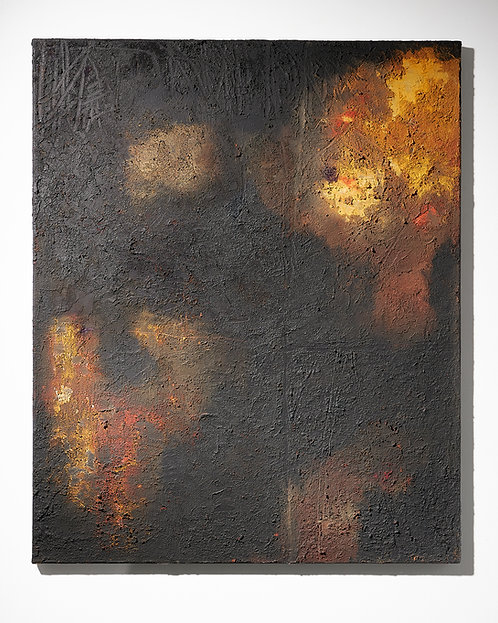 Abstract acrylic painting black base French contemporary
