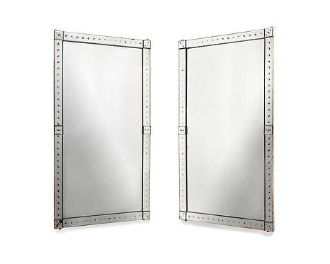 Original pair of large Venetian mirrors, with mirrored borders