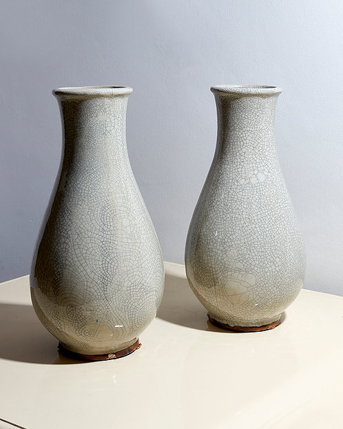 Pair of pale grey Faience crackleware vases