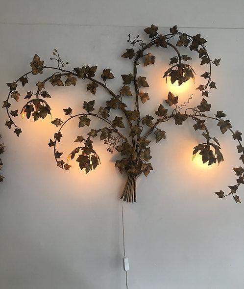 Hans Kogl gilt metal four light leaf applique