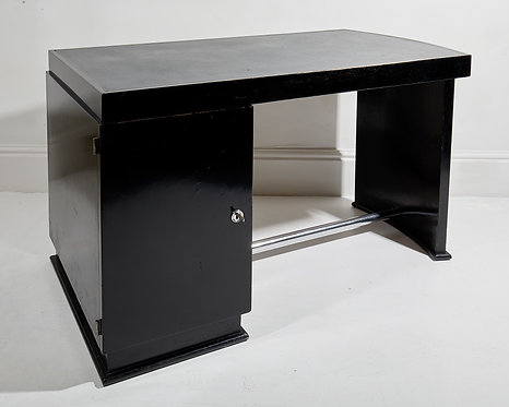 Jacques Adnet ebonised and chrome Art Deco desk