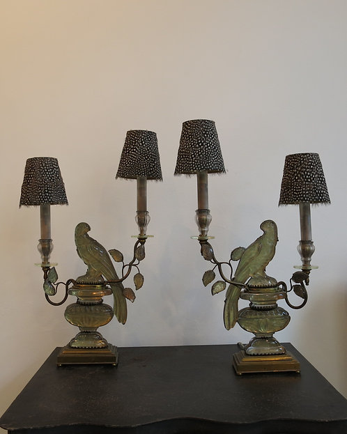 Pair of French Crystal and Lacquered Brass Parrot Lamps by Maison Bagues 1940's
